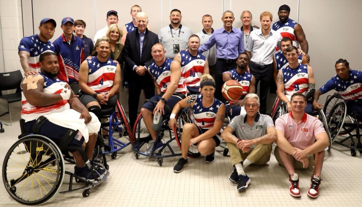 The US wheelchair basketball team met Prince Harry and Barack Obama and Jill and Joe Biden, before their win  over France Credit: Getty Images