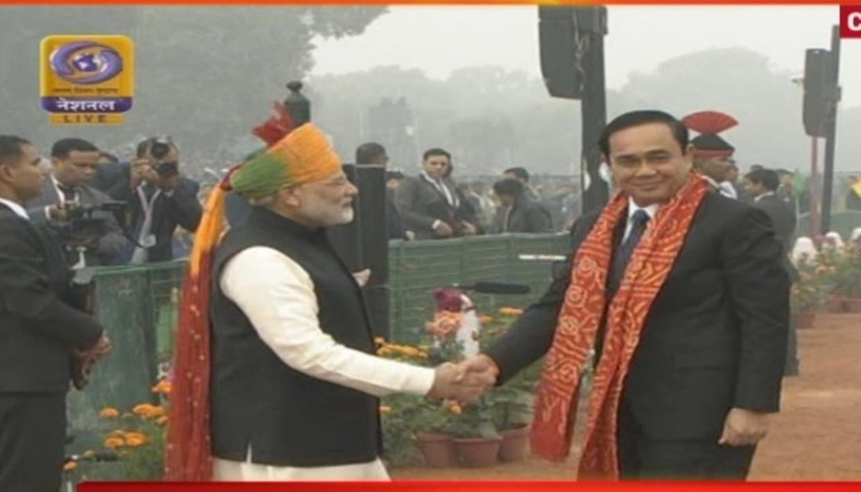Thai Prime Minister Prayut Chan-o-cha, one of the honorable Chief Guests of 69th Republic Day celebrations, being received by the Prime Minister