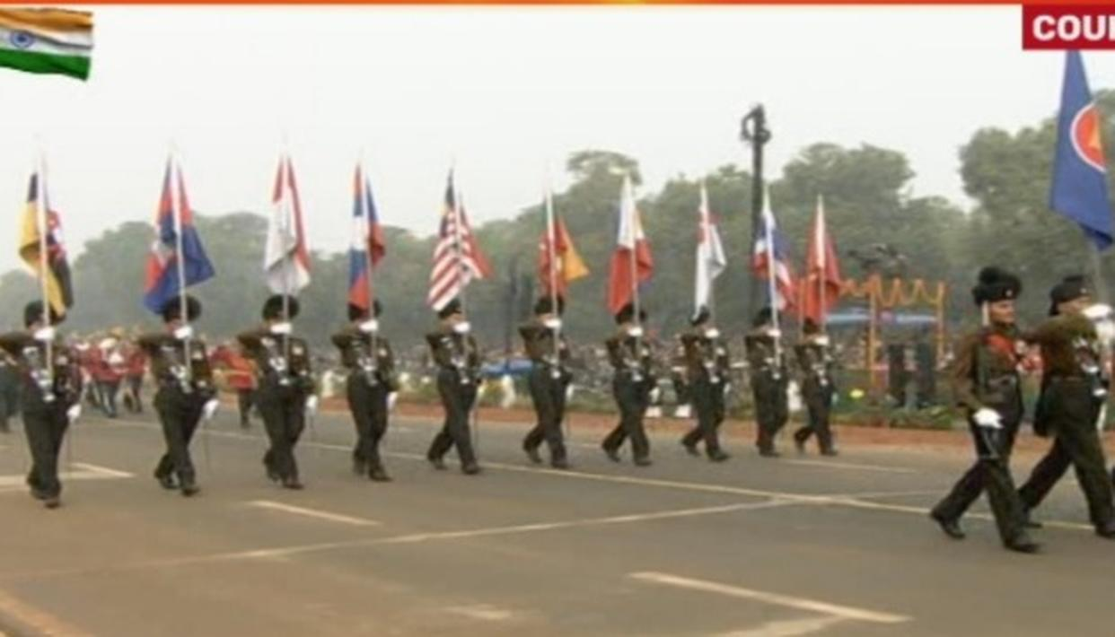 Flags of the 10 ASEAN countries in the Parade carried out by the Rajputana Rifles