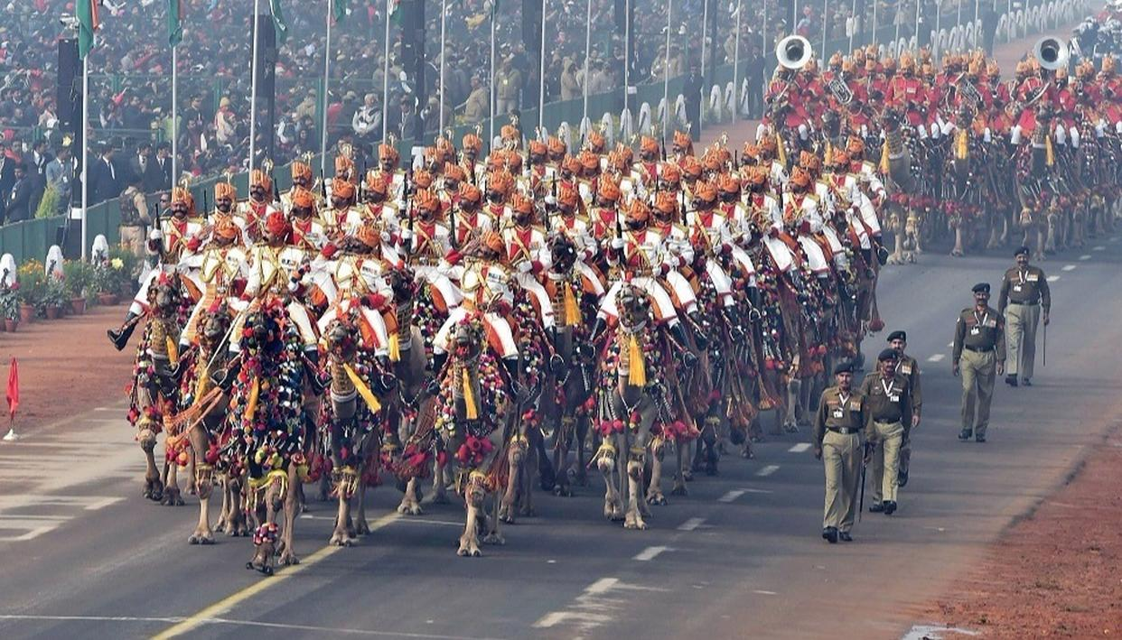 BSF's camel contingent marches past during 69th Republic Day Parade at Rajpath in New Delhi on Friday  (Source: PTI)