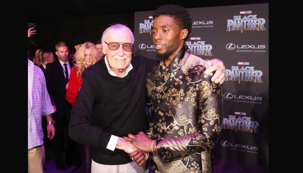 Stan Lee with Black Panther actor Chadwick Boseman at the film's premiere earlier this week