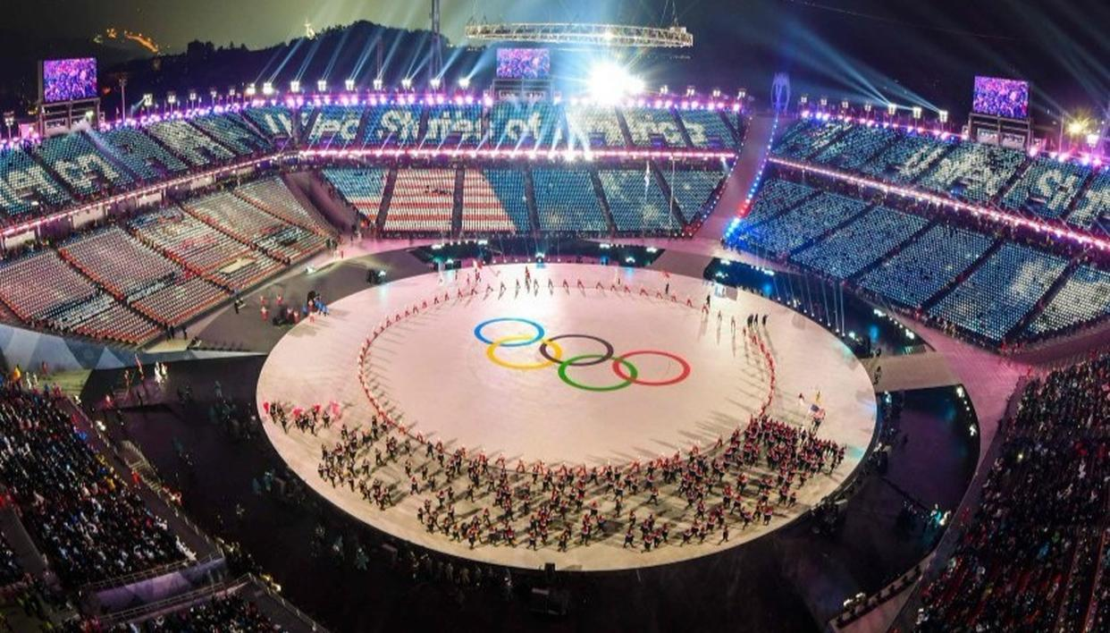 View of the Olympic rings during the opening ceremony of the Pyeongchang 2018 Winter Olympic Games.