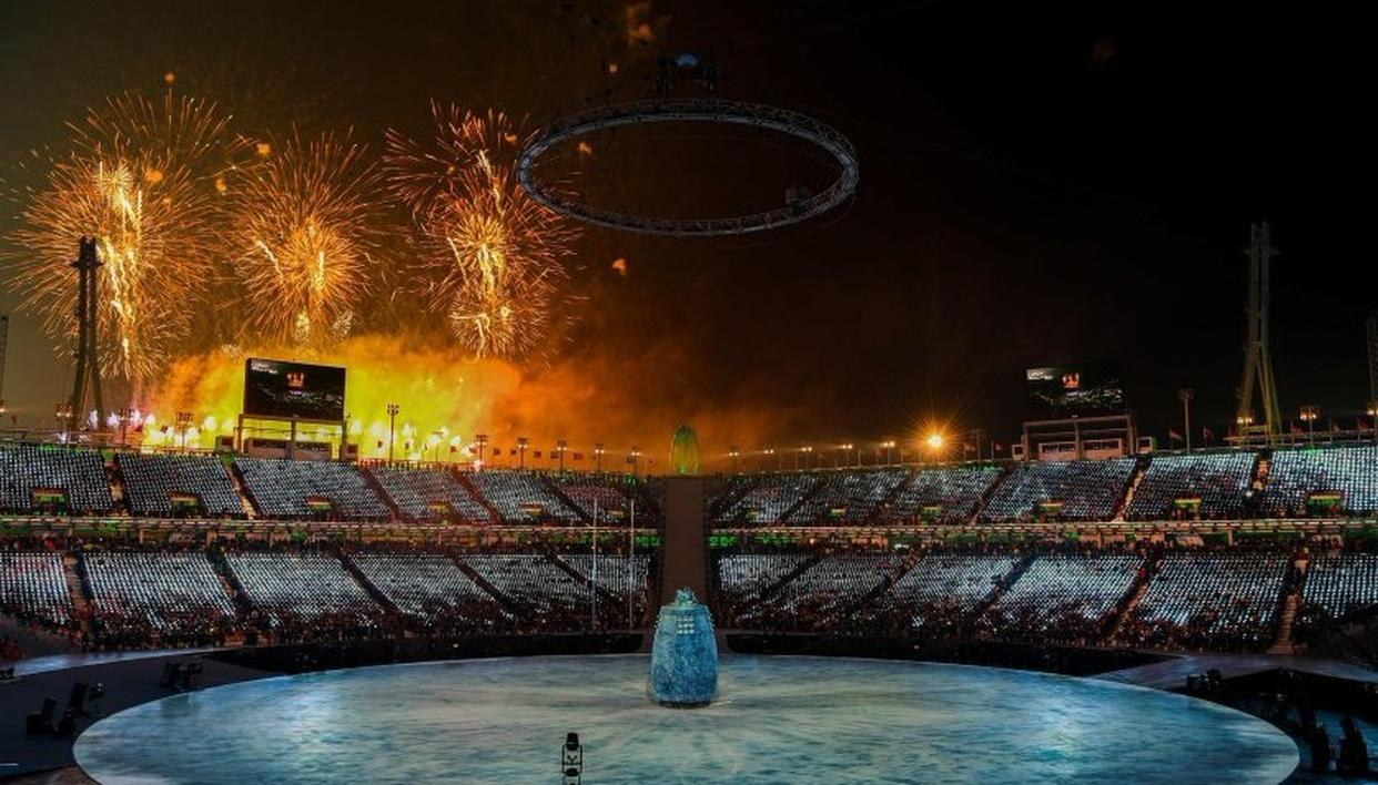 Fireworks erupt during the Opening Ceremony of the PyeongChang 2018 Winter Olympic Games.Photo by David Davies/PA Images via Getty Images