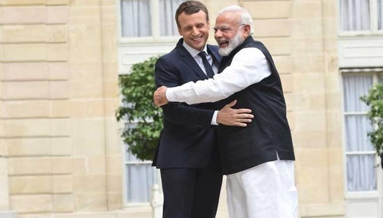 French President Emmanuel Macron and PM Modi