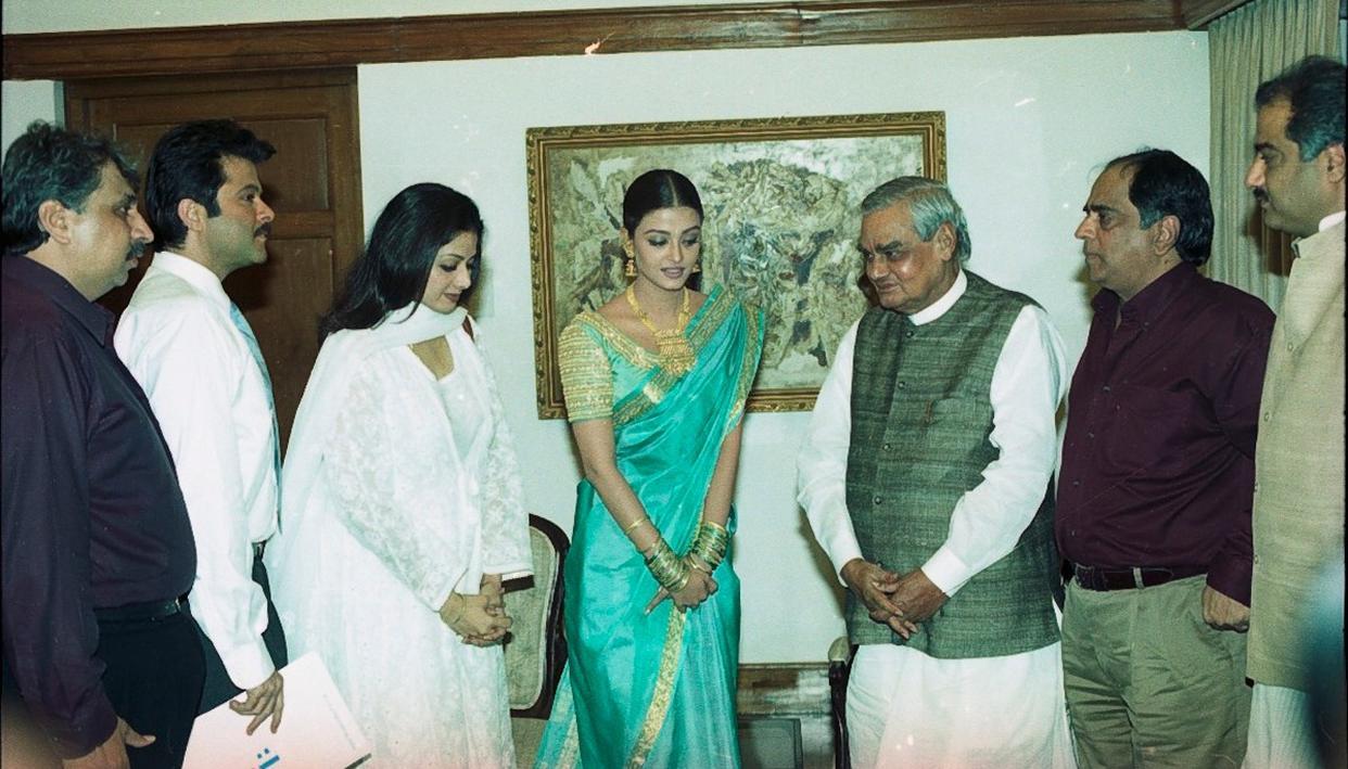A file photo of Atal Bihari Vajpayee with Bollywood personalities: Anil Kapoor, the late Sridevi, Aishwarya Rai Bachchan and Pahlaj Nihalani