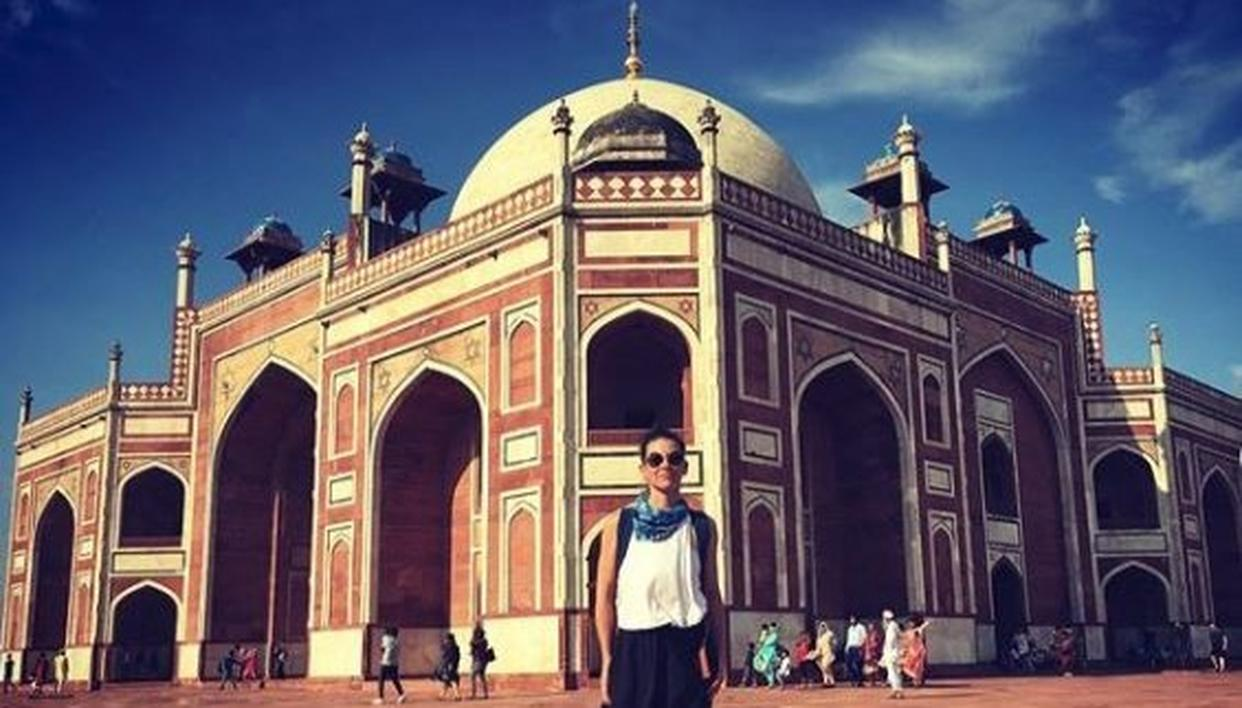 'Ant-Man and the Wasp' star Evangeline Lilly visiting Humayun's Tomb, Delhi, India.