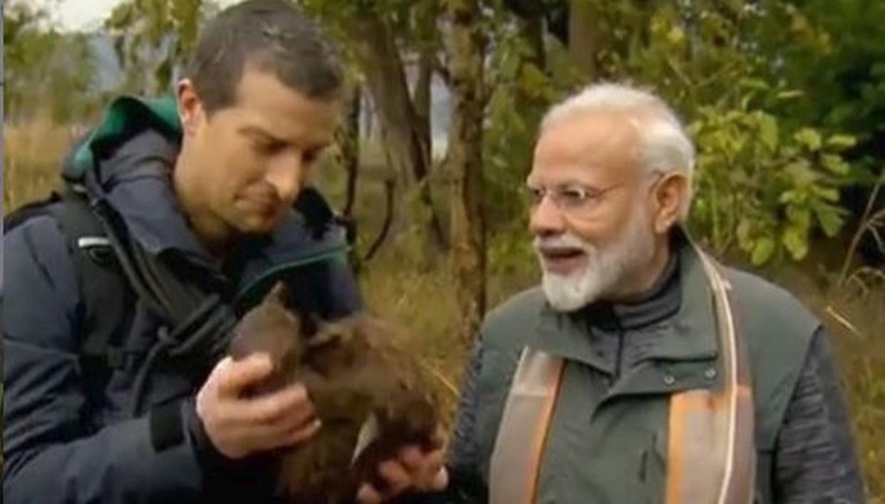 Still of Prime Minister Narendra Modi and Bear Grylls from 'Man vs Wild' episode.