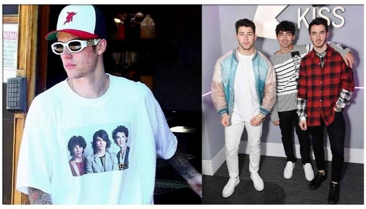 Justin Bieber was spotted sporting a Jonas Brothers t-shirt