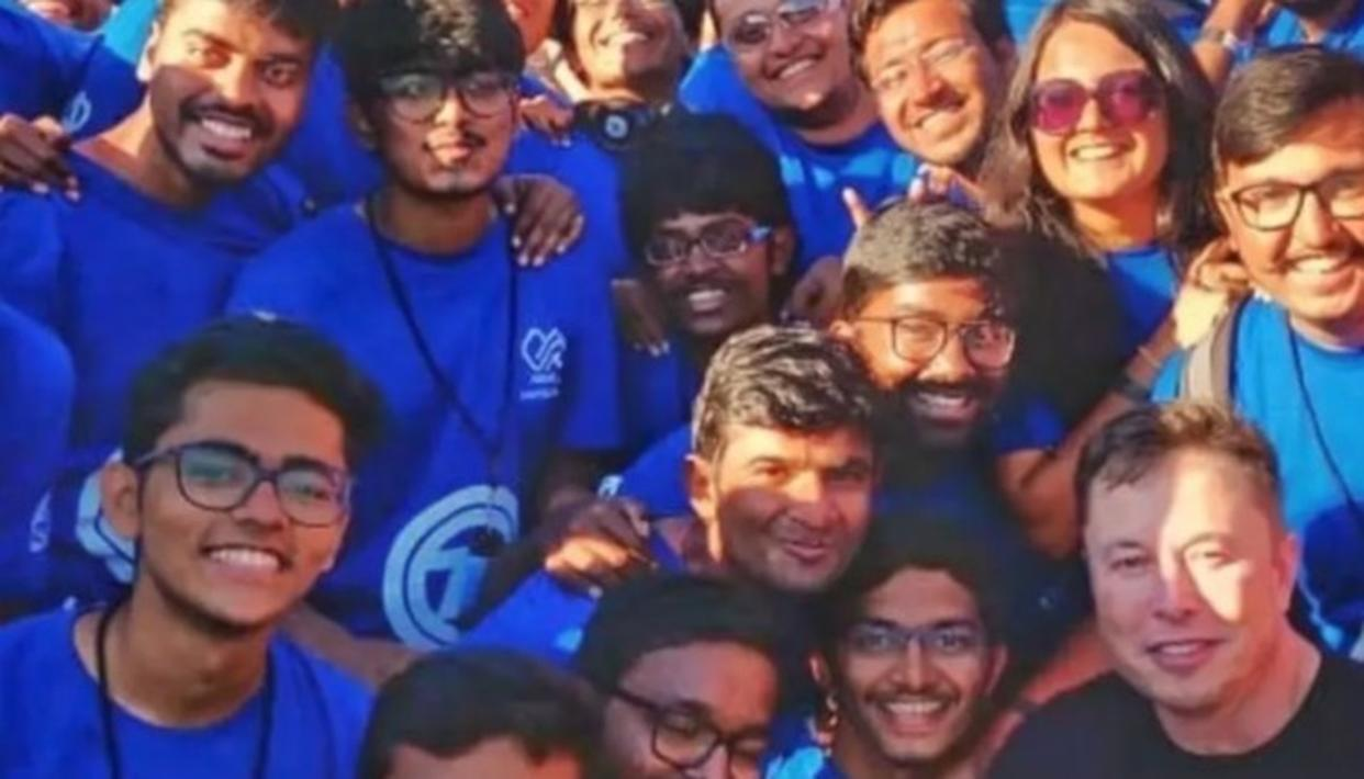 IIT Madras students with Elon Musk  Image Credit: Pranit Mehta