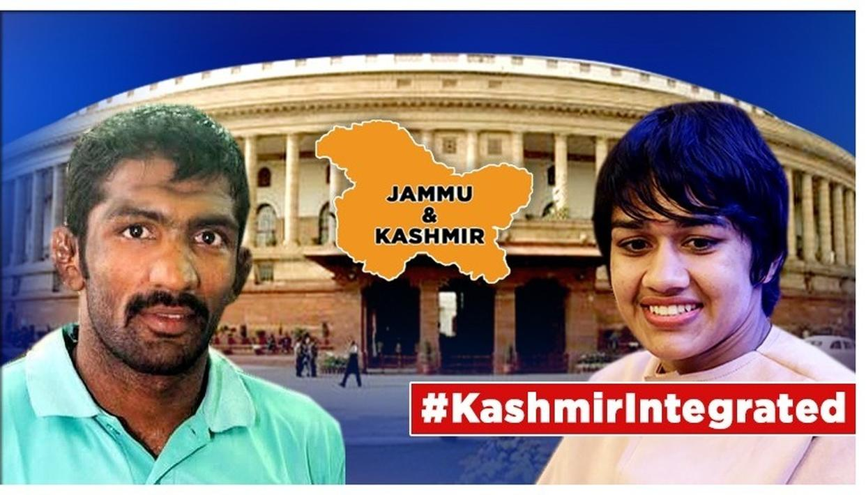 As the government moved to abrogate Article 370 pertaining to J&K, two of India's finest wrestlersBabita Phogat andYogeshwar Dutthailed the move to integrate India