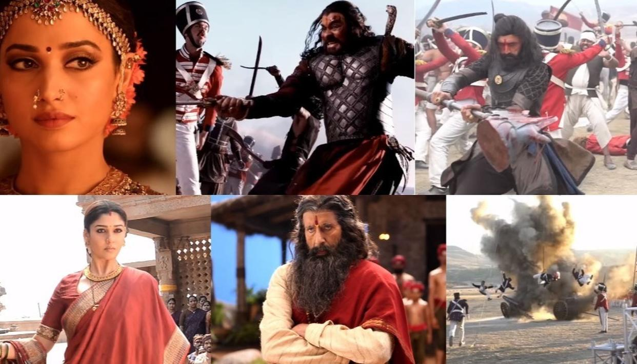 Looks of Chiranjeevi, Amitabh Bachchan and others in 'Sye Raa Narasimha Reddy'.