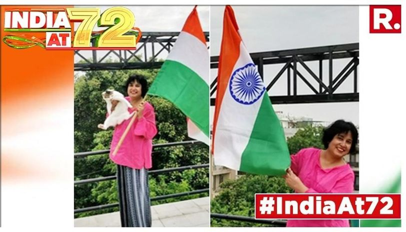 Taslima Nasreen celebrates Independence Day at her residence.