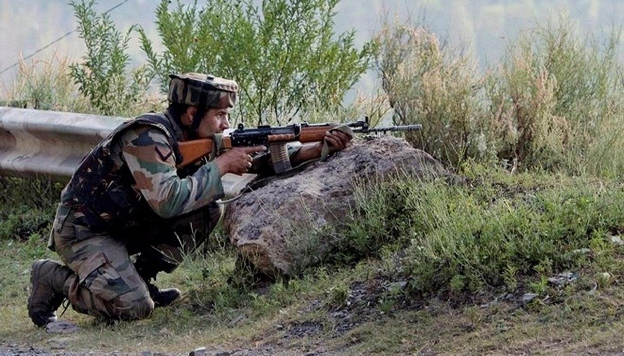 Two terrorists trapped in an encounter at Tral