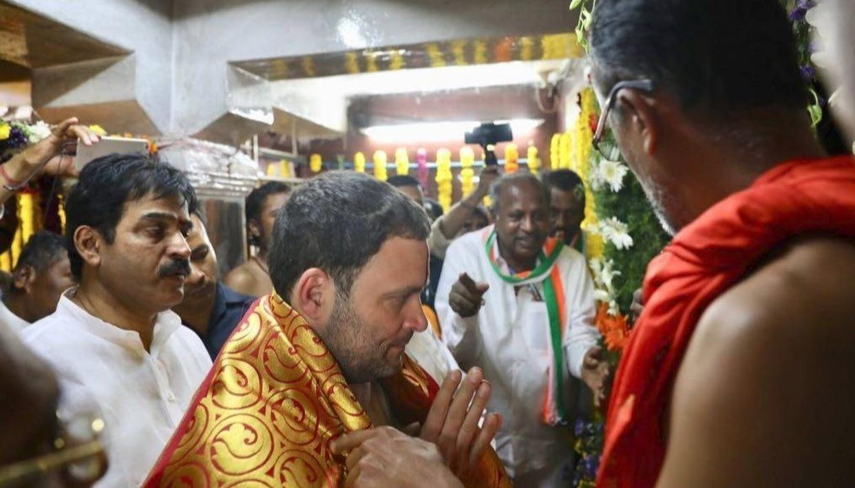 BJP SLAMS RAHUL FOR TEMPLE VISIT AFTER 'EATING CHICKEN'