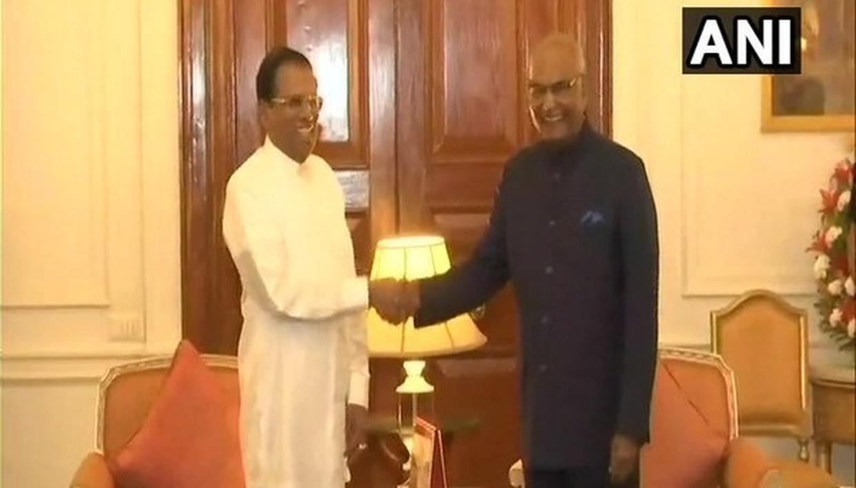 SRI LANKAN PRESIDENT MEETS INDIAN COUNTERPART