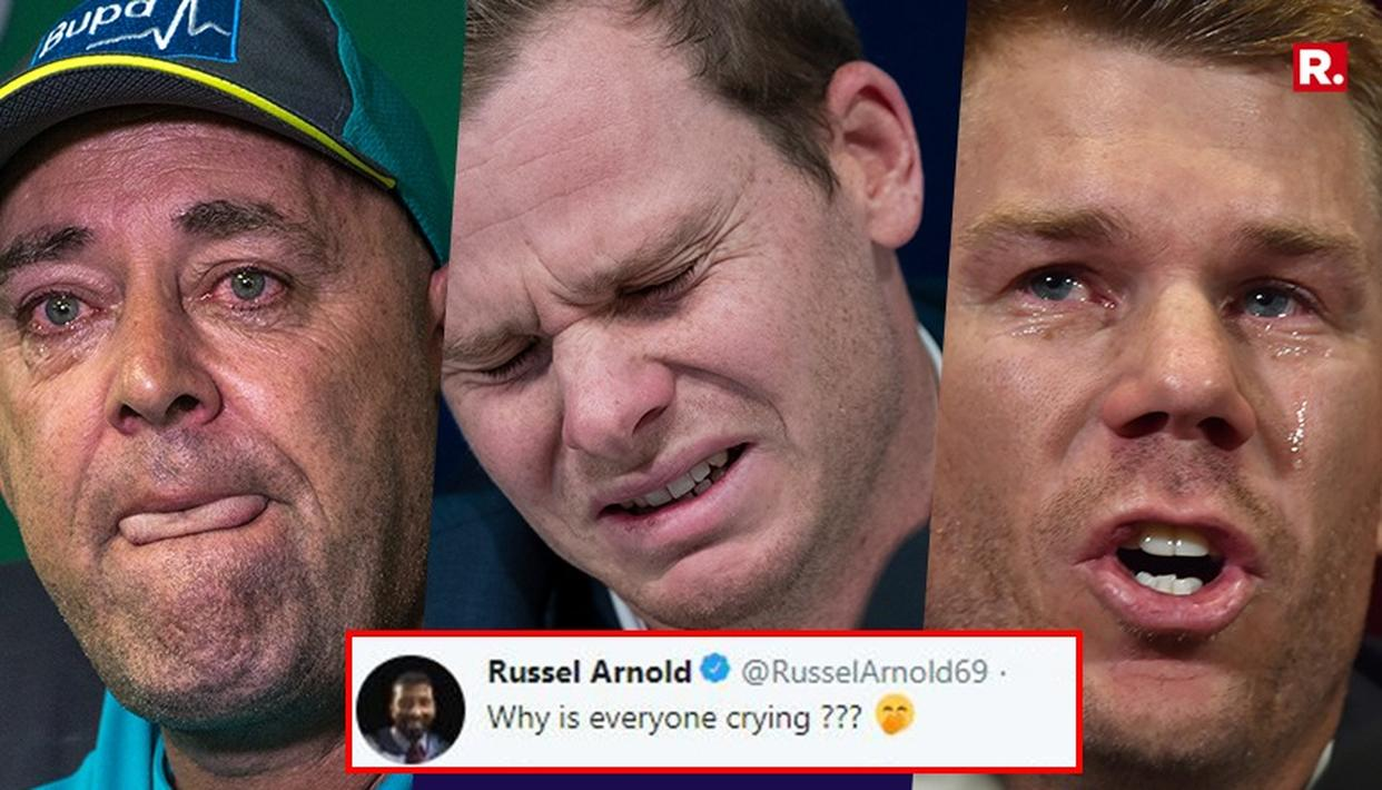 EX-CRICKETER MOCKS BANNED AUSSIES FOR 'CRYING'