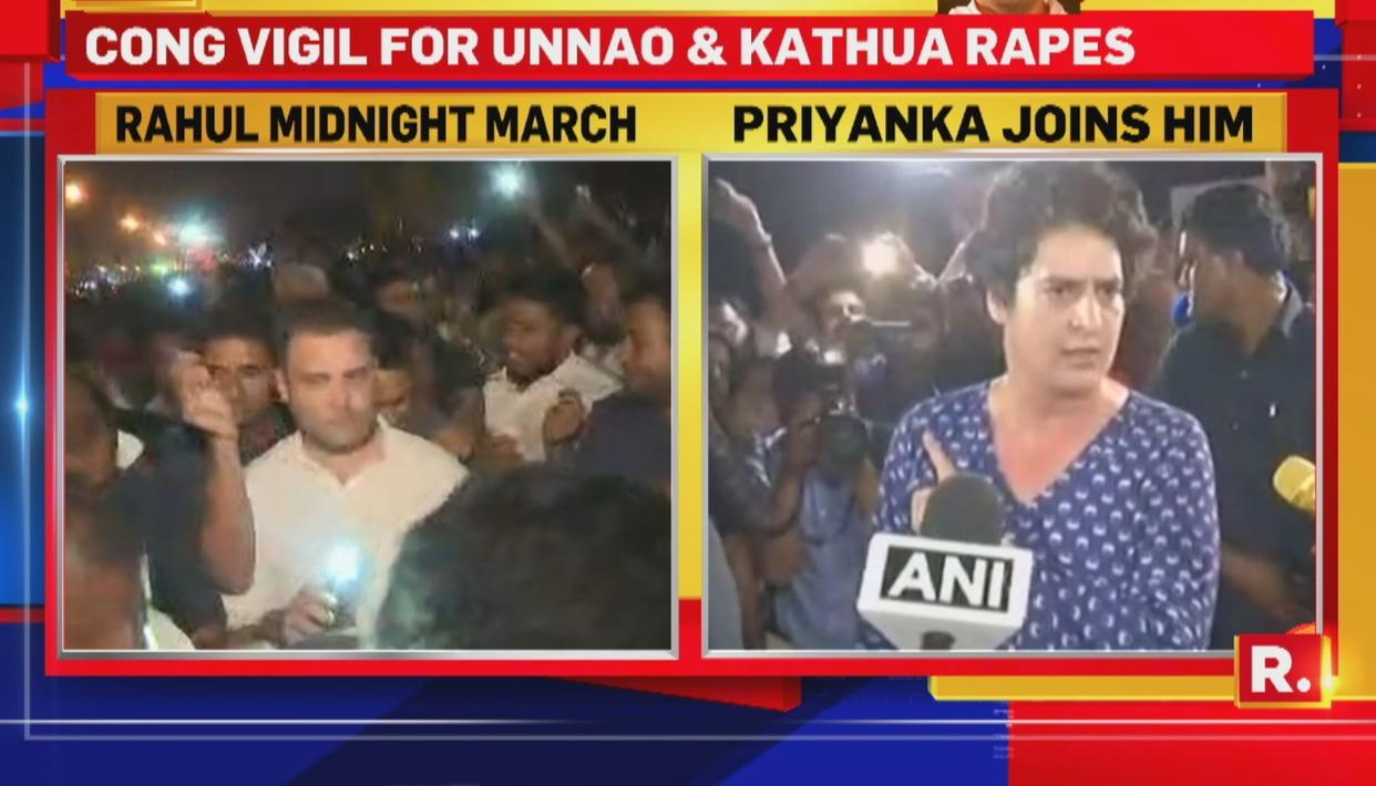 RAHUL, PRIYANKA MARCH TO INDIA GATE