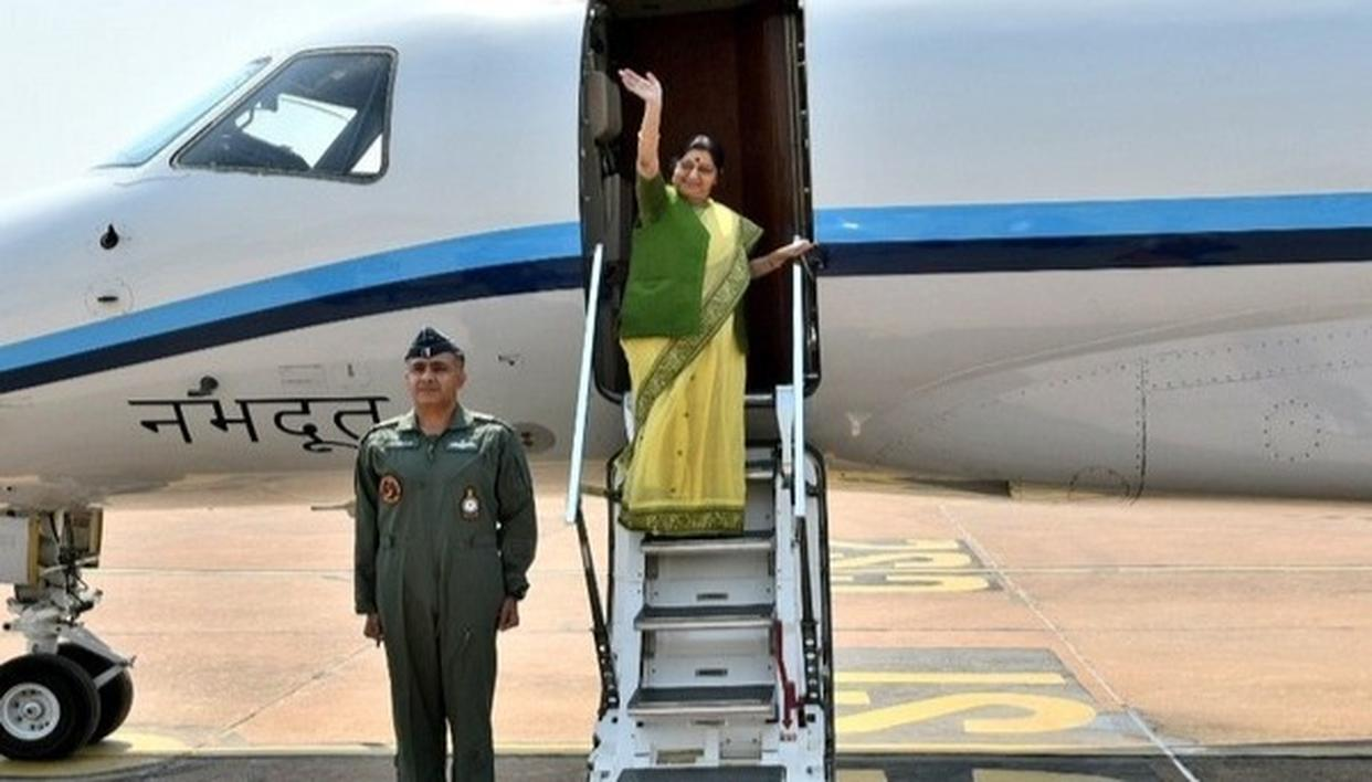 SUSHMA TAKES OFF FOR MYANMAR