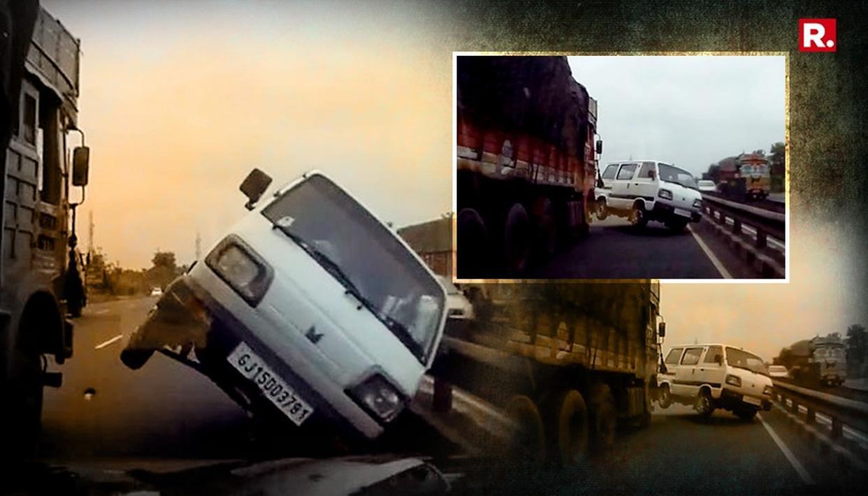 गुजरात: हाईवे पर ओमी वैन ने ट्रक के आगे से लिया खतरनाक यू-टर्न, सामने आया दिल दहला देने वाला वीडियो