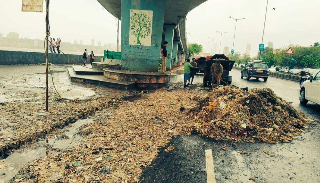WATCH: MARINE DRIVE DROWNS IN GARBAGE