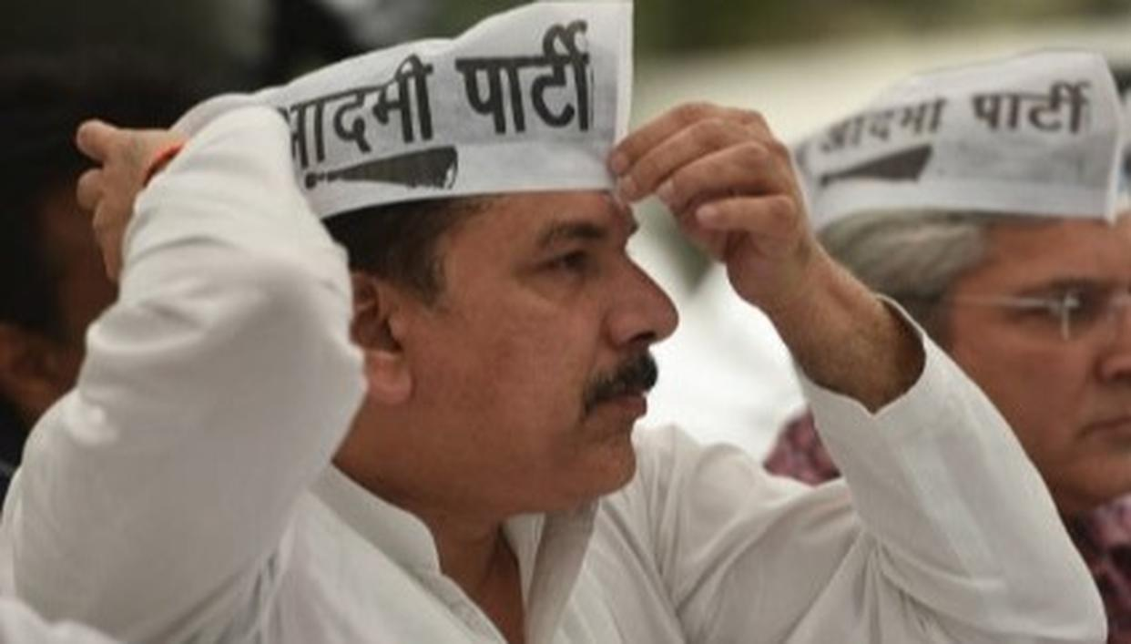 AAP MP STAGES PROTEST DURING ALL-PARTY MEETING