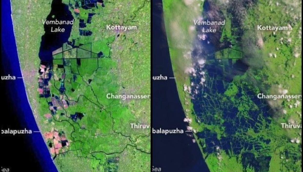 NASA RELEASES BEFORE AND AFTER IMAGES OF KERALA FLOODS