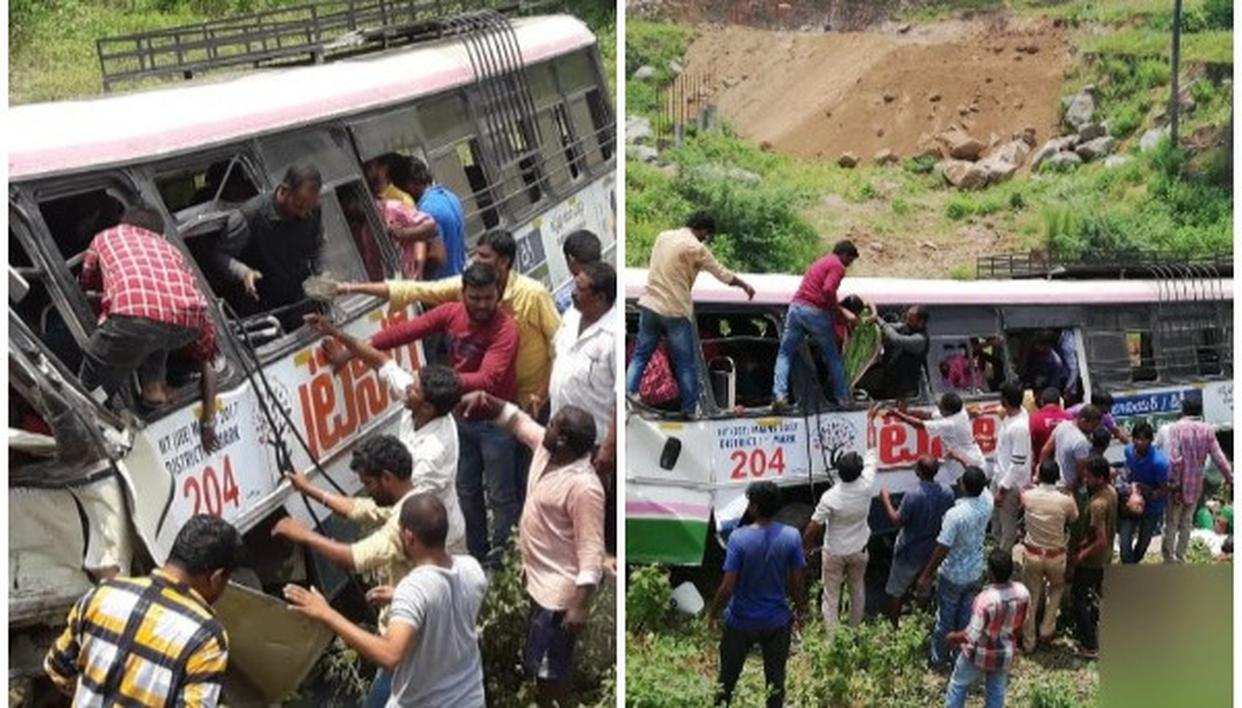 45 PEOPLE HAVE LOST THEIR LIVES IN TELANGANA AS BUS FALLS INTO GORGE