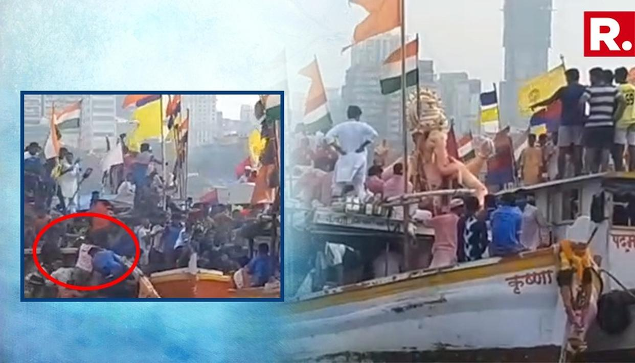 लालबाग के राजा गणपति विसर्जन के दौरान टला बड़ा हादसा- देखें  VIDEO