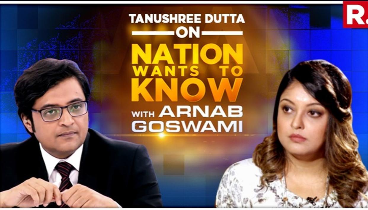 EXCLUSIVE | 'THE COP ASKED ME IF I WANTED NANA PATEKAR'S NAME IN THE COMPLAINT', REVEALS TANUSHREE DUTTA IN INTERVIEW TO ARNAB GOSWAMI