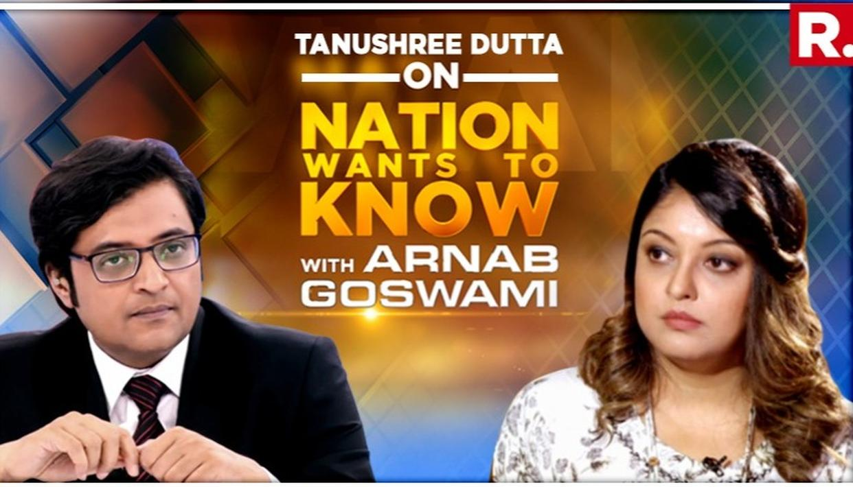 EXCLUSIVE | 'AFTER THIS INCIDENT, I WAS ALREADY THROWN OUT OF THE INDUSTRY,' SAYS TANUSHREE DUTTA IN INTERVIEW TO ARNAB GOSWAMI