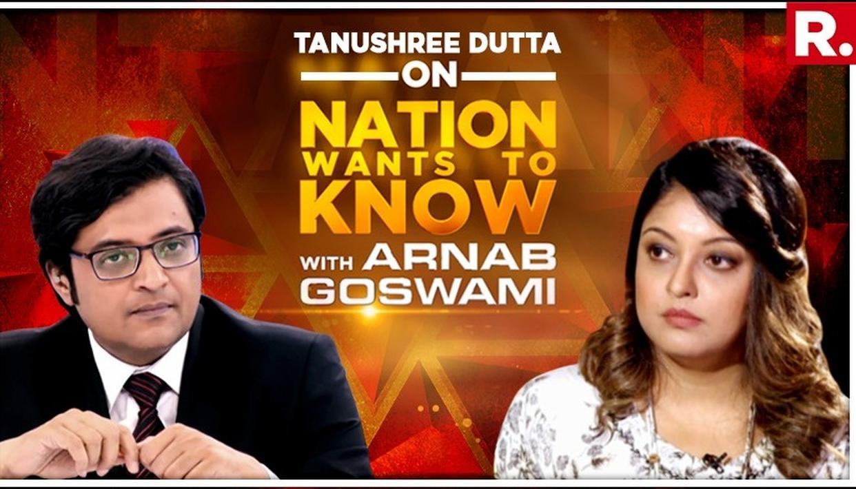 EXCLUSIVE | 'HARASSMENT IS POPULAR CULTURE', SAYS TANUSHREE DUTTA IN INTERVIEW TO ARNAB GOSWAMI