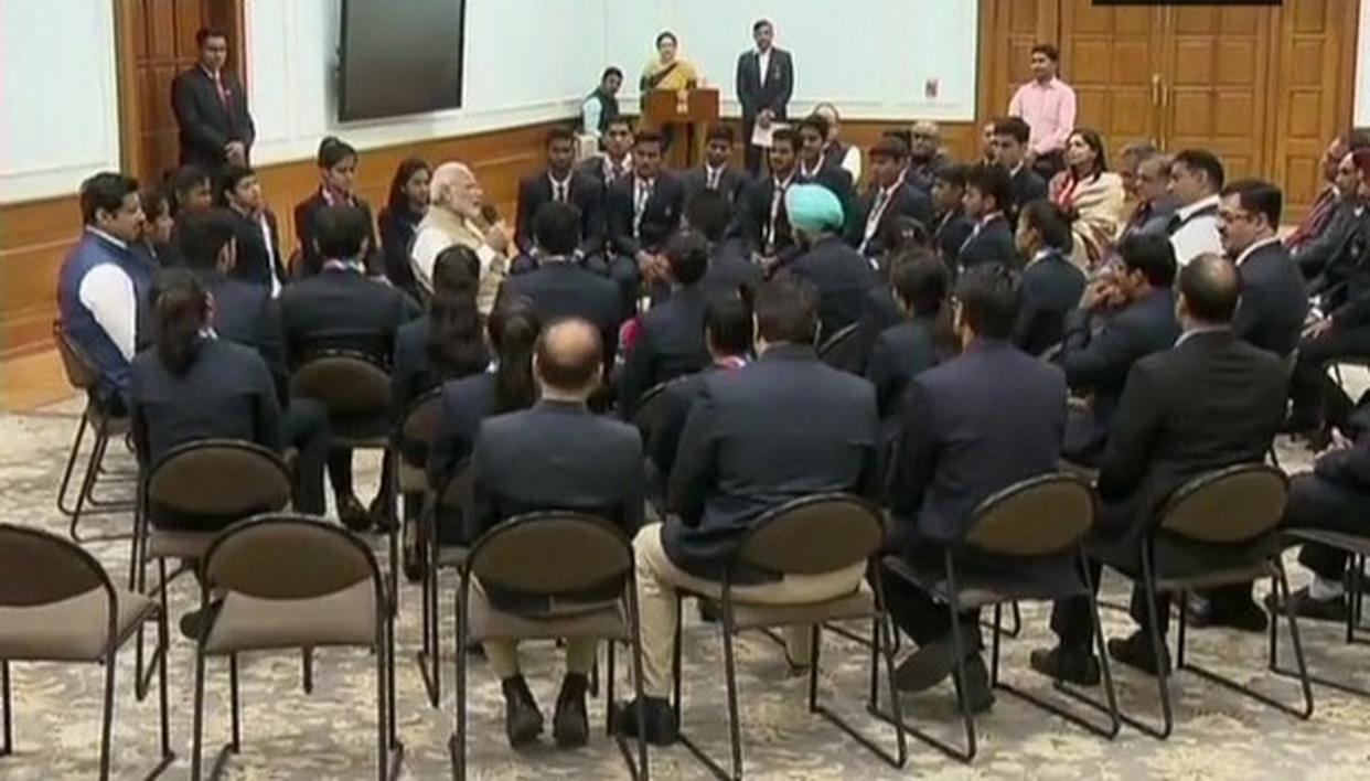 PM MODI FELICITATES YOUTH OLYMPIC MEDAL WINNERS