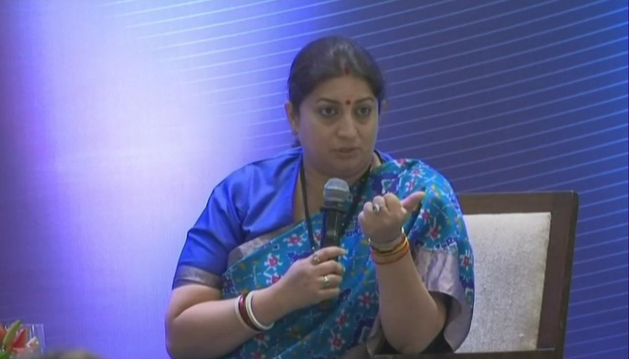 "SMRITI IRANI COMMENTS ON ""WOULD YOU TAKE SANITARY NAPKINS SEEPED IN MENSTRUAL BLOOD TO FRIEND'S HOUSE"" REMARK"