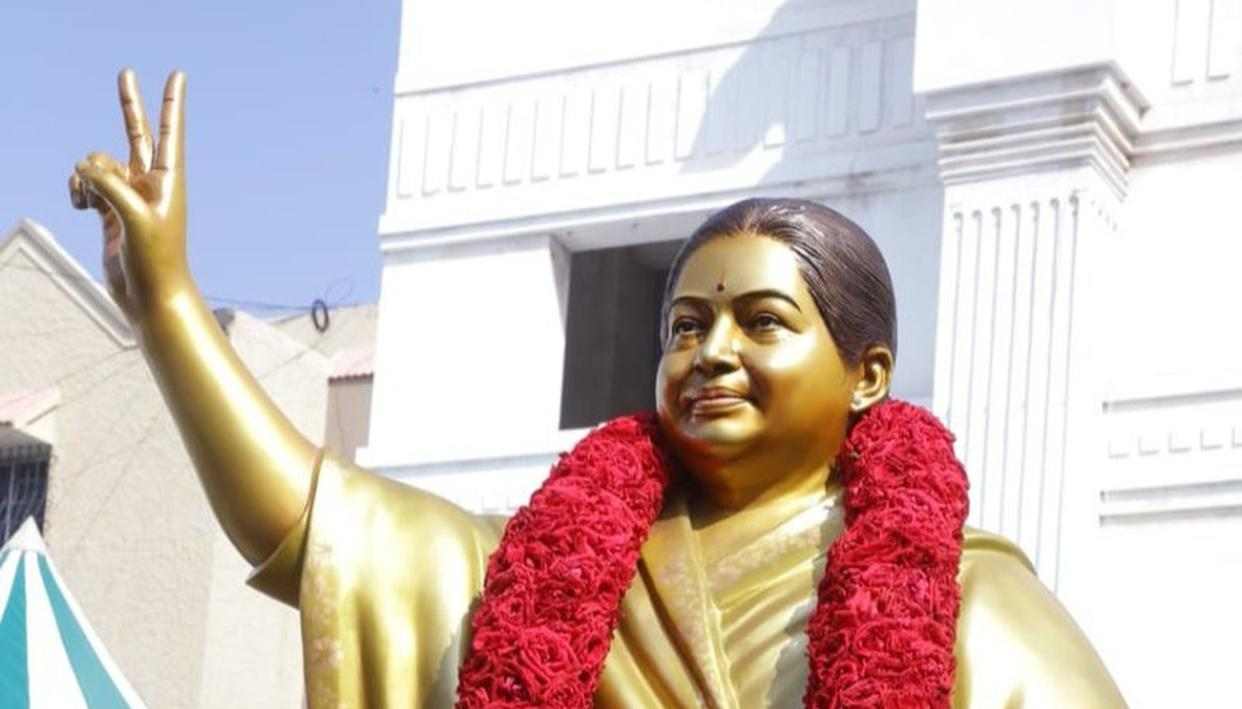 NEW STATUE OF FORMER CHIEF MINISTER OF TAMIL NADU J JAYALALITHAA UNVEILED AT AIADMK HEADQUARTERS