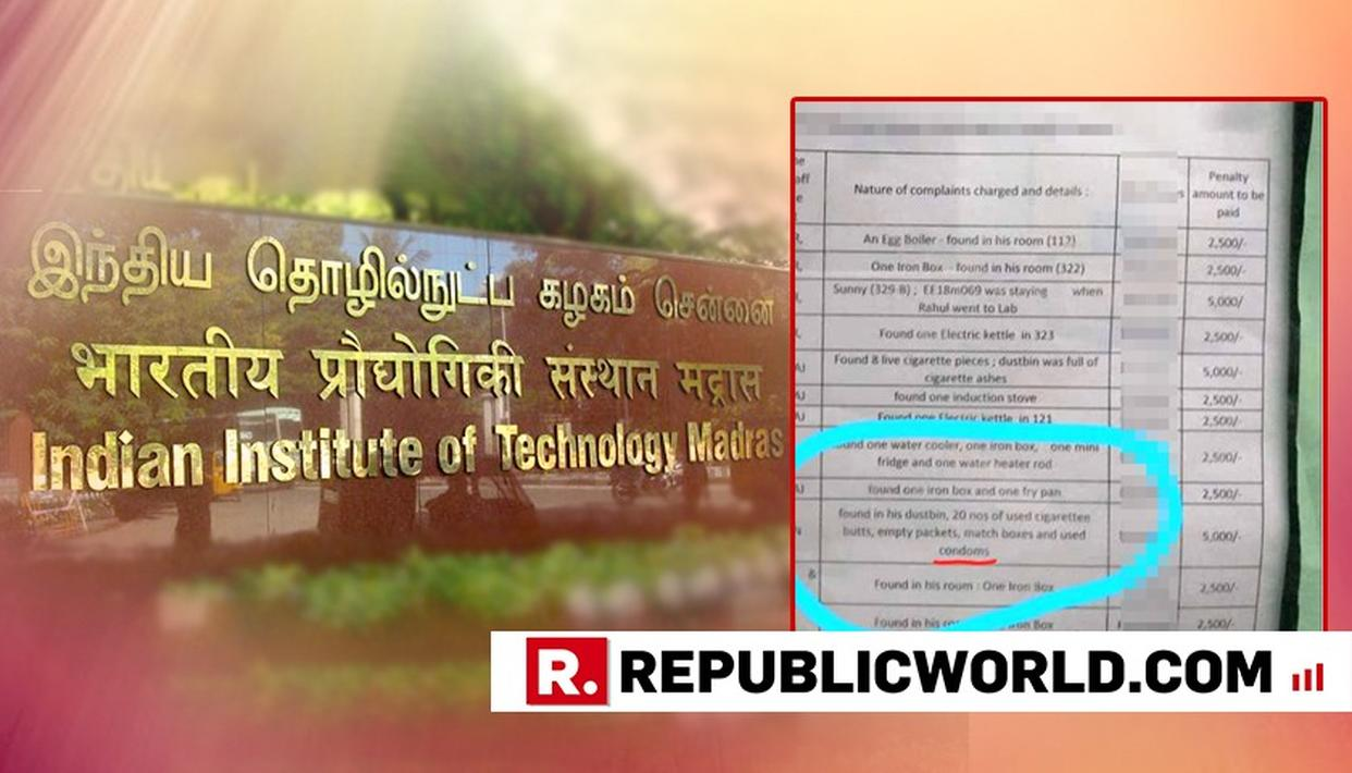 """IIT MADRAS FINES STUDENT FOR CONTRABAND ITEMS, LISTS """"USED CONDOMS"""" ON NOTICE BOARD"""