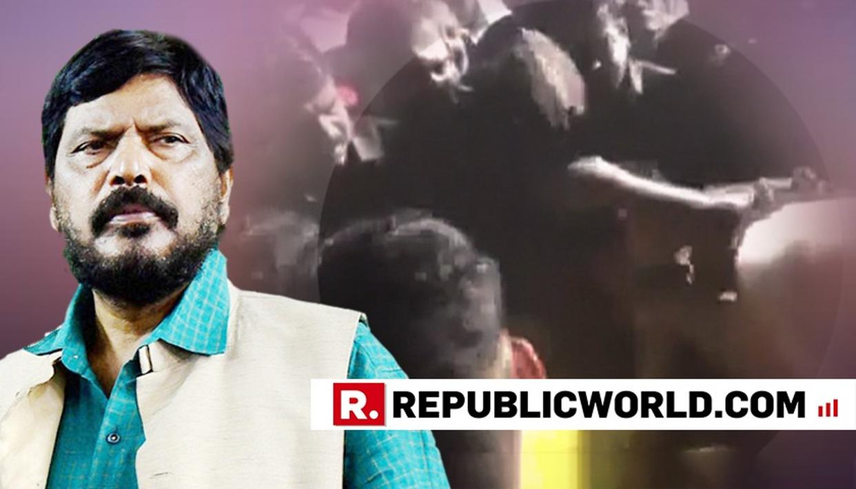 WATCH: REPUBLICAN PARTY OF INDIA WORKER WHO SLAPPED MINISTER RAMDAS ATHAWALE TRASHED BY LATTER'S SUPPORTERS