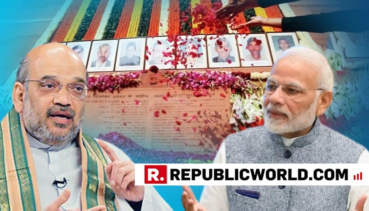 PM MODI, AMIT SHAH PAY TRIBUTES ON 17TH ANNIVERSARY OF PARLIAMENT ATTACK