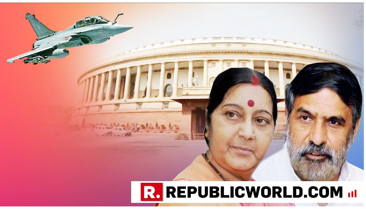 """""""ONLY CONTROVERSY IS IN YOUR MINDS"""": UNION MINISTER SUSHMA SWARAJ HITS BACK AT ANAND SHARMA IN PARLIAMENT OVER RAFALE DEAL"""