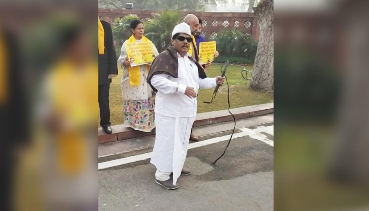 TDP MP NARAMALLI SIVAPRASAD DRESSES UP AS FORMER TAMIL NADU CM MGR, PLAYS HIS SONG IN PARLIAMENT
