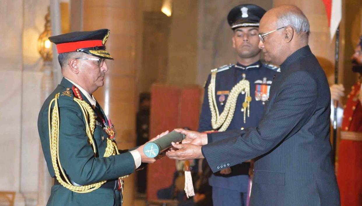 PRESIDENT CONFERS HONORARY RANK OF GENERAL OF INDIAN ARMY ON NEPAL ARMY CHIEF. HERE'S WHY