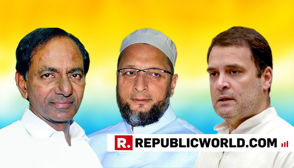 "WATCH: ""BE IN YOUR LIMITS"", FUMES ASADUDDIN OWAISI OVER CONGRESS POSTER DEPICTING HIMSELF AND KCR AS KAURAVAS AND 'DEMOCRACY' AS DRAUPADI"