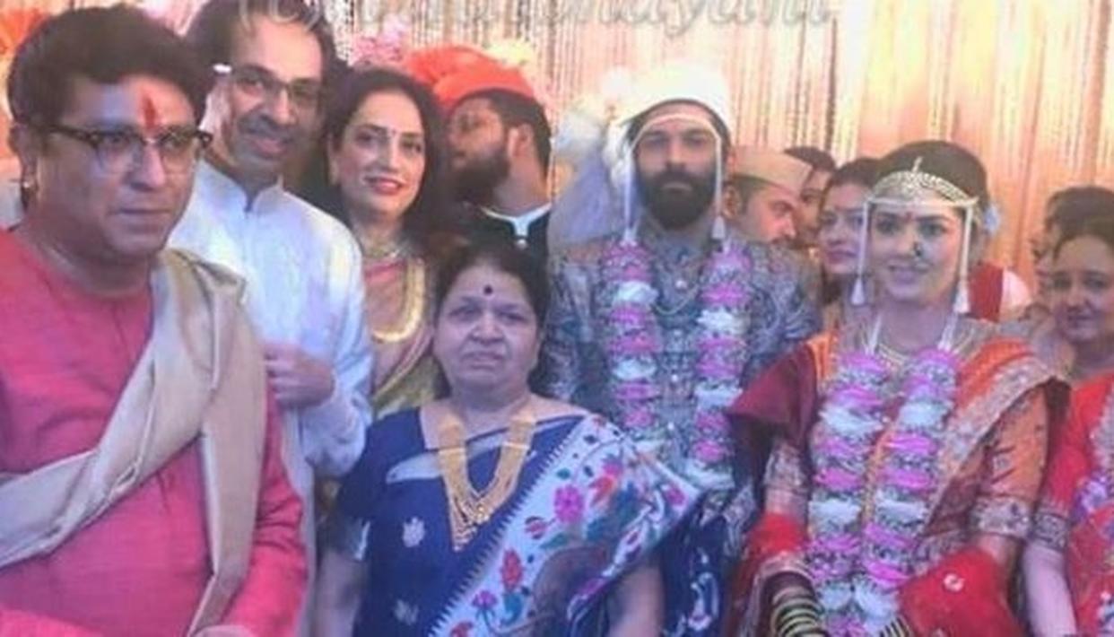 IN PICS: UDDHAV, B-TOWN STARS GRACE RAJ THACKERAY'S SON'S WEDDING