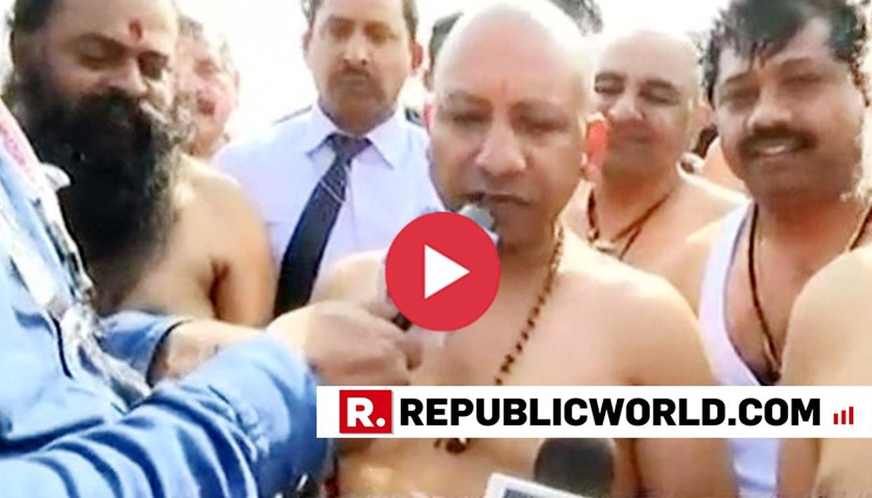 WATCH: UP CM YOGI ADITYANATH TAKES HOLY DIP AT KUMBH MELA 2019, RE-EMERGES AND SAYS 'WANT RAM MANDIR DISPUTE TO BE RESOLVED PEACEFULLY'