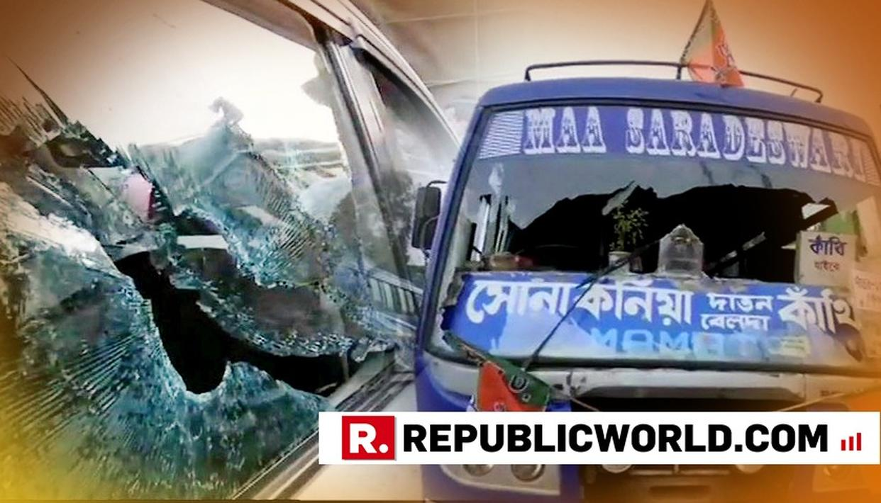 BUS FERRYING BJP KARYAKARTAS TO AMIT SHAH'S WEST BENGAL RALLY SET ABLAZE; PARTY BLAMES TMC CADRE