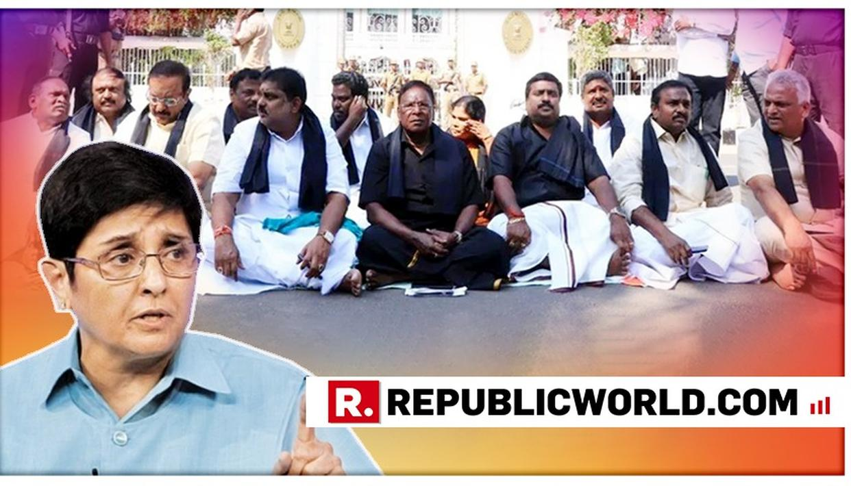 """STAND-OFF CONTINUES AS PUDUCHERRY CM V NARAYANASWAMY SITS ON WITH DHARNA, LT GOVERNOR KIRAN BEDI ALLEGES CABINET """"MISLEADING PEOPLE"""""""
