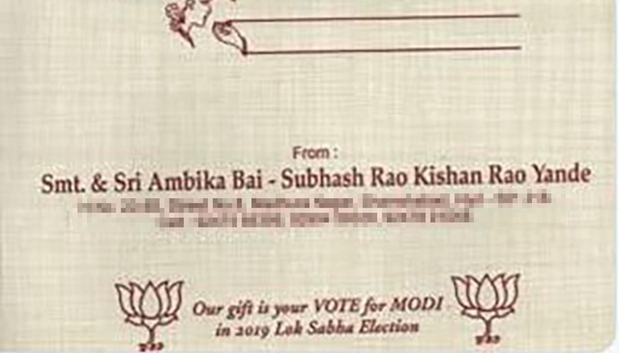 HYDERABAD: GROOM REQUESTS GUESTS TO VOTE MODI INSTEAD OF BRINGING GIFTS