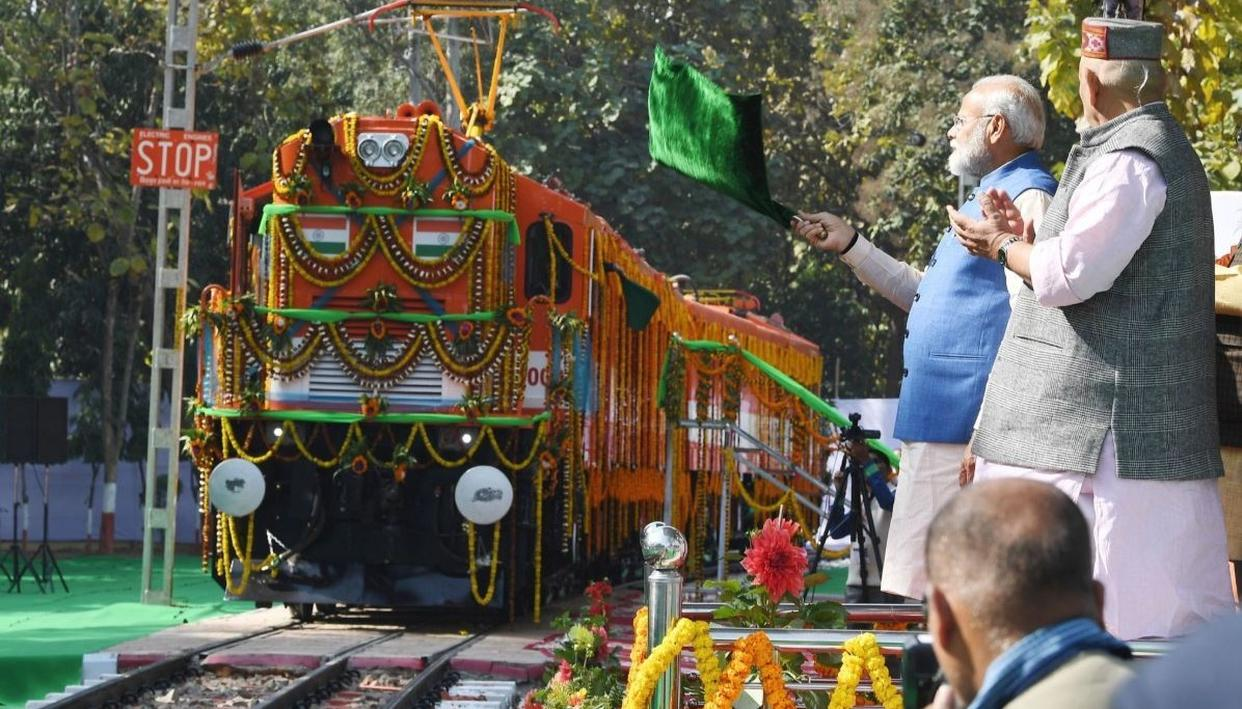 INDIAN RAILWAYS SETS WORLD RECORD AS PM MODI UNVEILS FIRST EVER DIESEL TO ELECTRIC CONVERTED LOCOMOTIVE