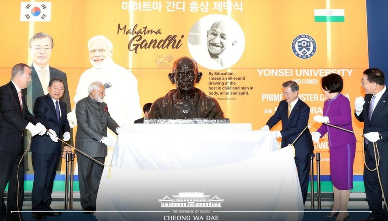 IDEALS OF MAHATMA GANDHI HAVE POWER TO CONQUER PROBLEMS OF TERRORISM, CLIMATE CHANGE: PM MODI IN SEOUL