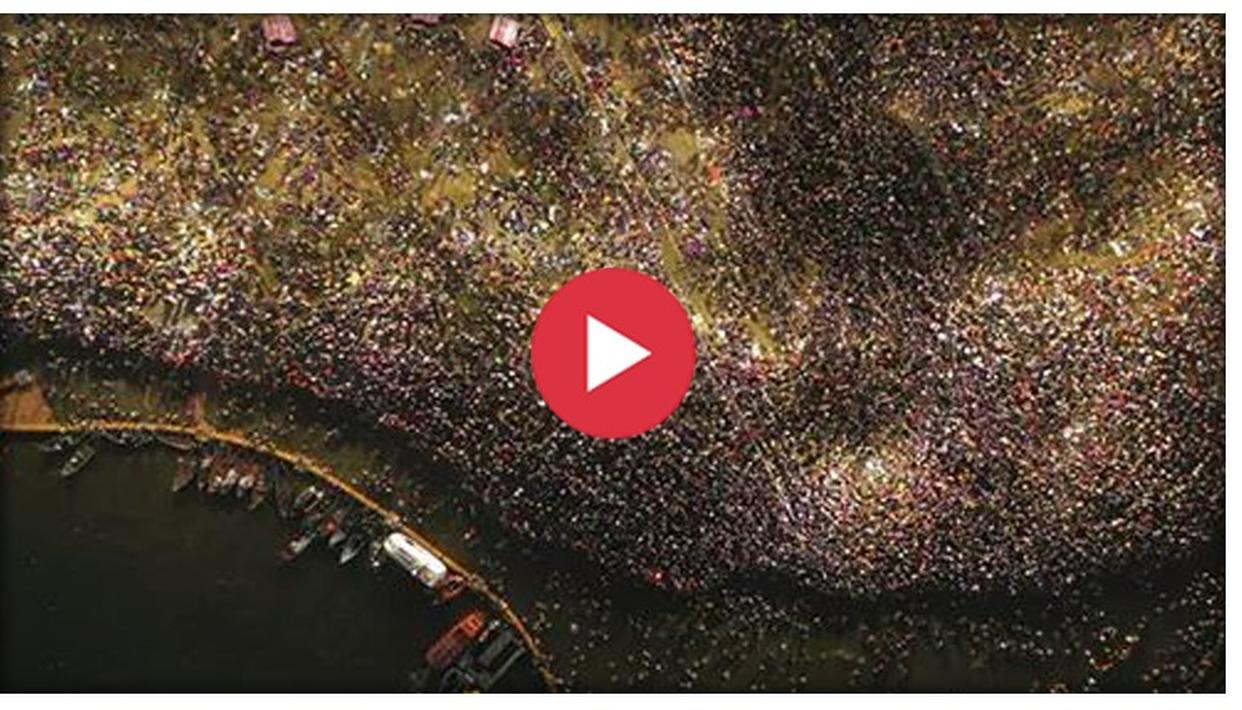 WATCH: JAW-DROPPING VISUAL OF 1.2 CRORE DEVOTEES TAKING A HOLY DIP ON THE OCCASION OF MAGHI PURNIMA AT KUMBH MELA