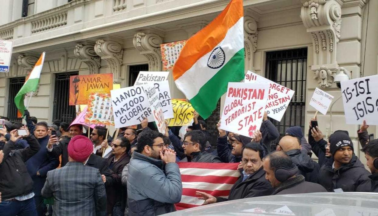 PULWAMA TERROR ATTACK: SCORES OF ANGRY INDIANS PROTEST IN NEW YORK